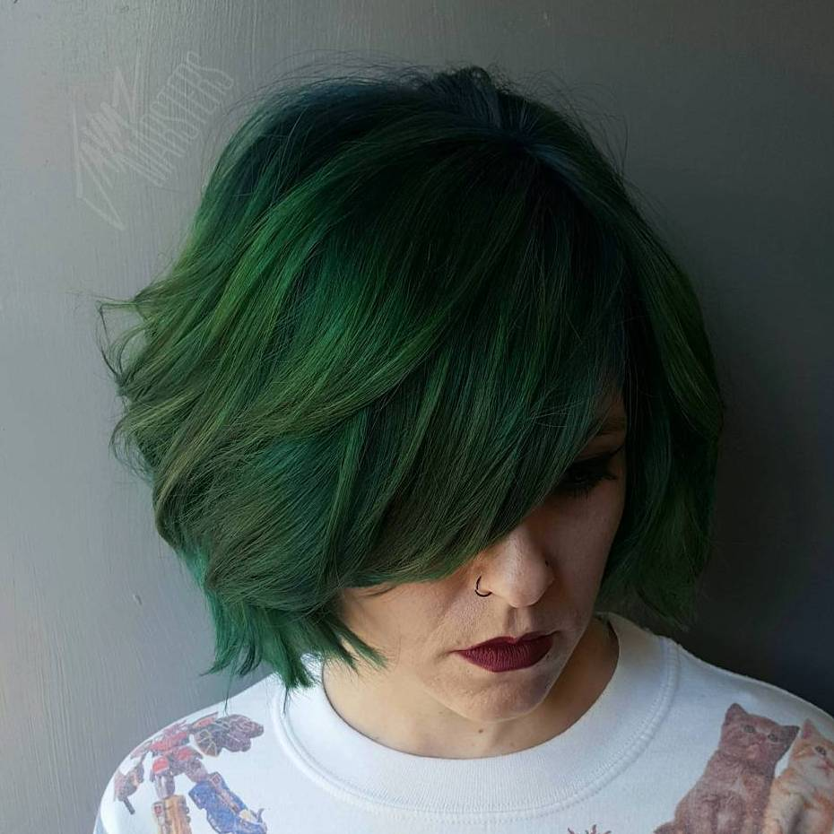 Green Bob With Bangs