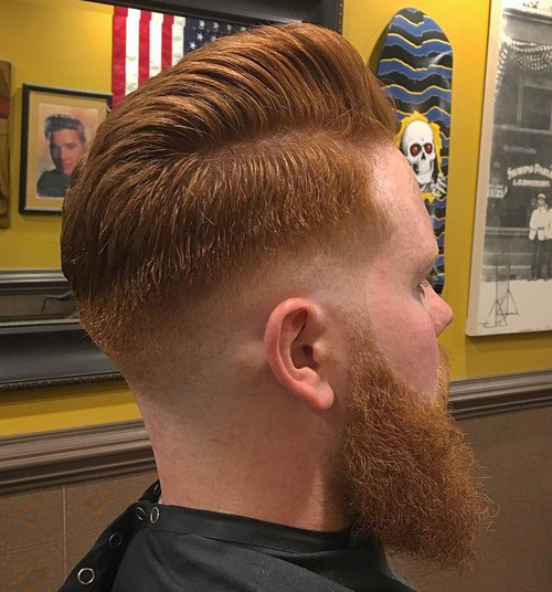 red taper fade hairstyle with beard