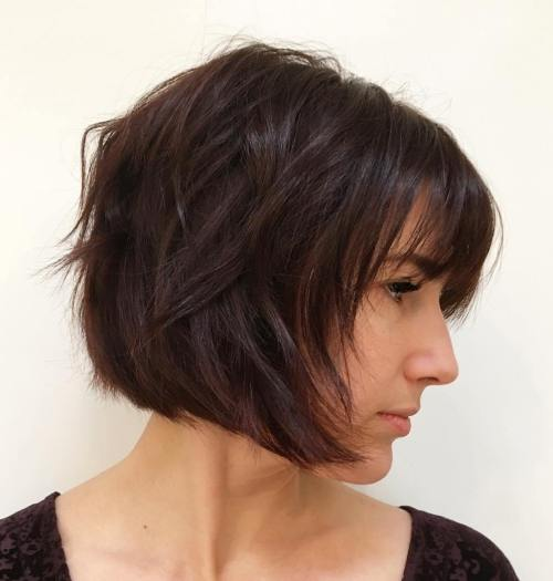 Razored Brown Bob With Bangs