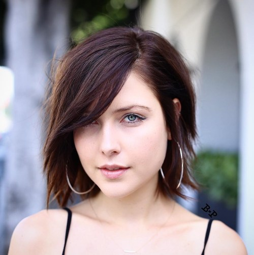 Edgy Brown Bob With Side Bangs