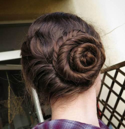 asymmetrical braided bun
