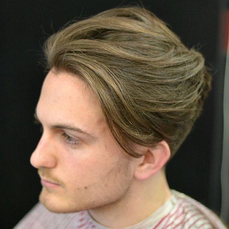 Medium Swept Back Menu0027s Hairstyle
