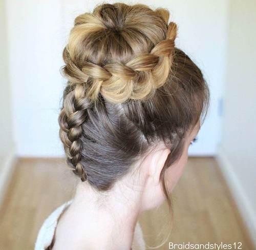 braid and bun updo