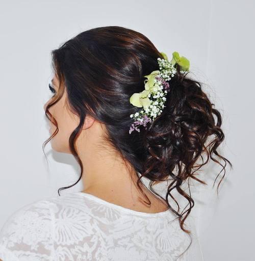bridal curly bun updo