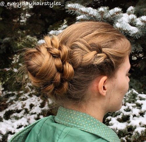 casual bun with braid around