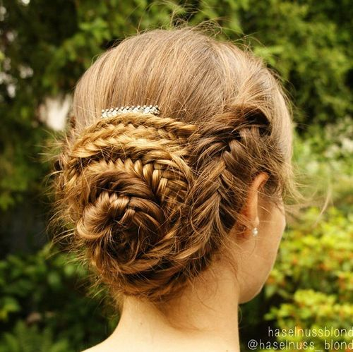 fishtail braided seashell bun