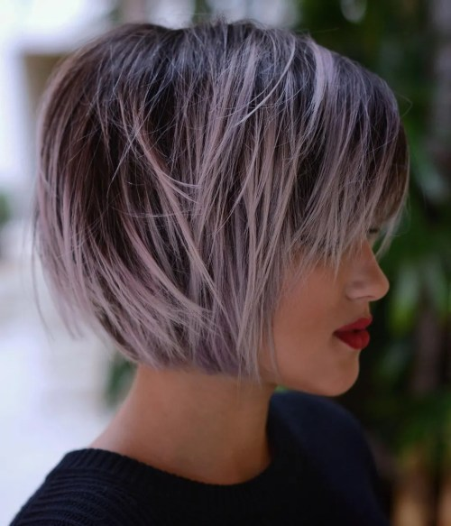 Brown Bob With Pastel Purple Balayage