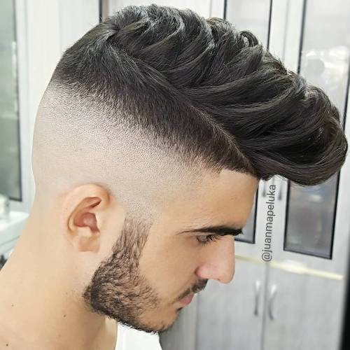 Half Shaved Pompadour Hairstyle