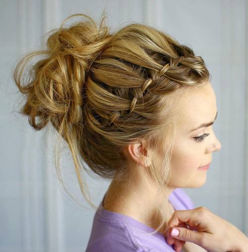 messy bun with a headband waterfall braid