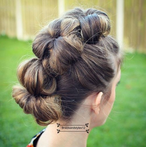 three buns mohawk updo