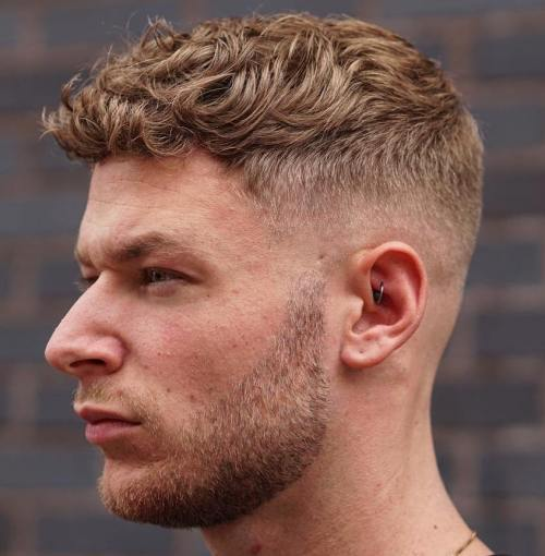 Curly Blonde Taper Fade