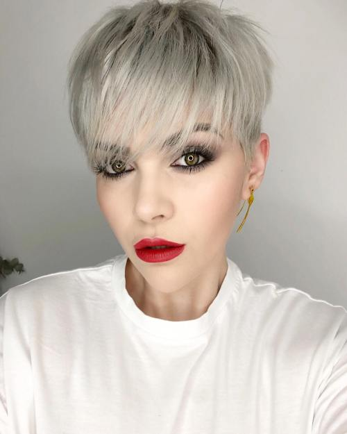 Ash Blonde Razored Pixie For Fine Hair