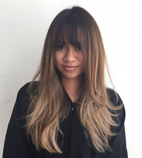 long brown layered ombre hair