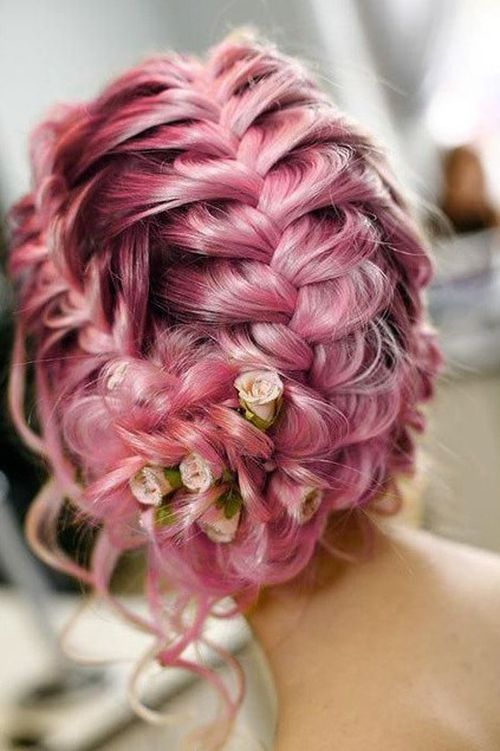 loose braided updo with rose buds
