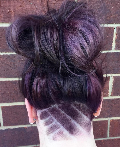 messy bun with nape undercut