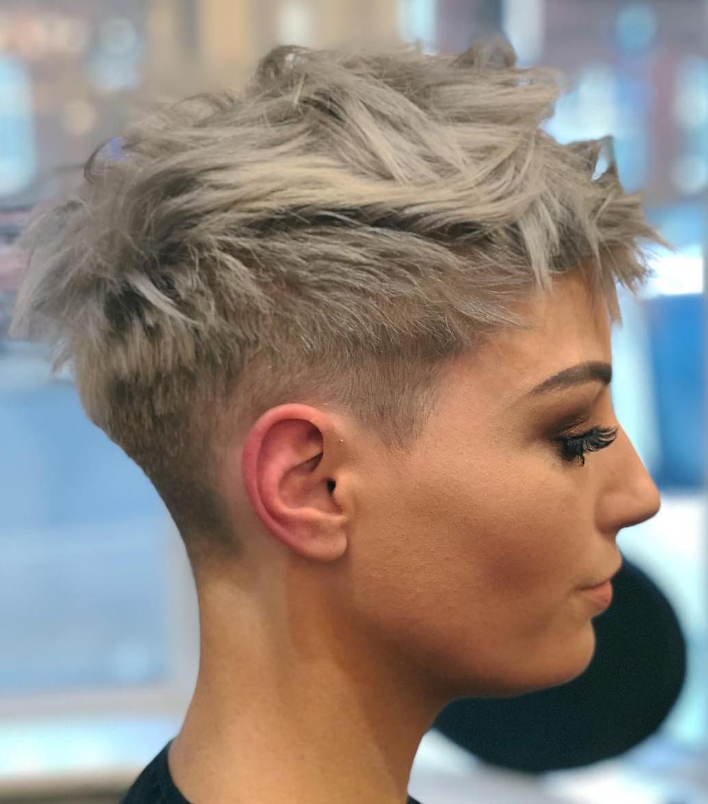 Short blonde pixie cuts buzzed