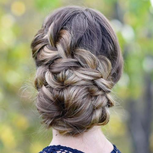 Side Bun With A Braid For Long Hair