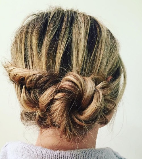 Side Messy Bun With A Braid