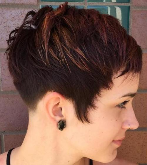 Brown Pixie With Highlights