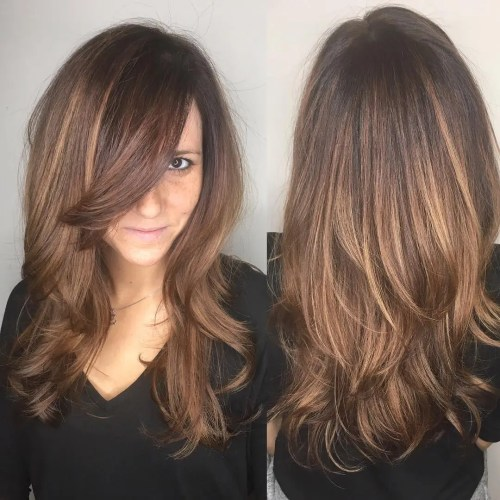 Long Layered Cut With Bangs For Thick Hair