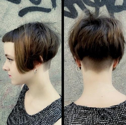 Short bob haircut with shaved nape
