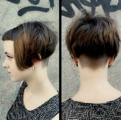 bob with very short bangs and nape undercut