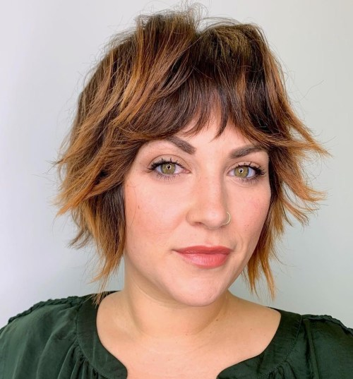 Modern Short Crop with Bangs and Highlights