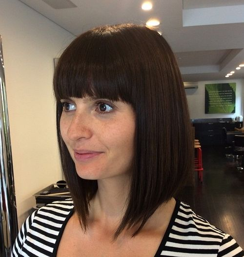 angled long bob with straight bangs