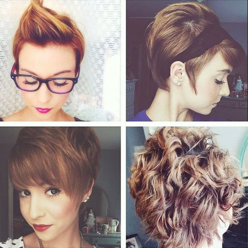 four different pixie hairstyles