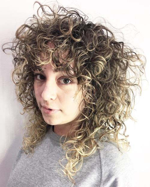 Curly Brown Hairstyle With Highlights