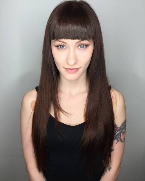 Long straight haircuts with long bangs