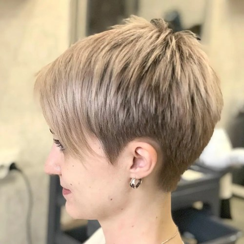 Short Piecey Blonde Pixie With Bangs
