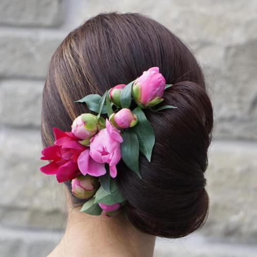 Sleek Side Chignon With Flowers