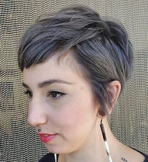 very short textured gray hairstyle