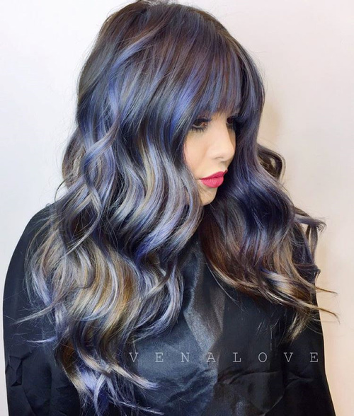Pastel Purple Highlights For Dark Brown Hair