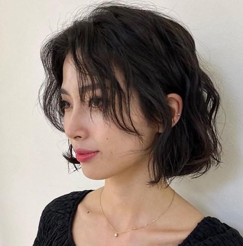 Short Hair with Long Curtain Bangs