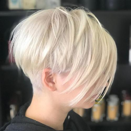 White Blonde Layered Pixie With Undercut