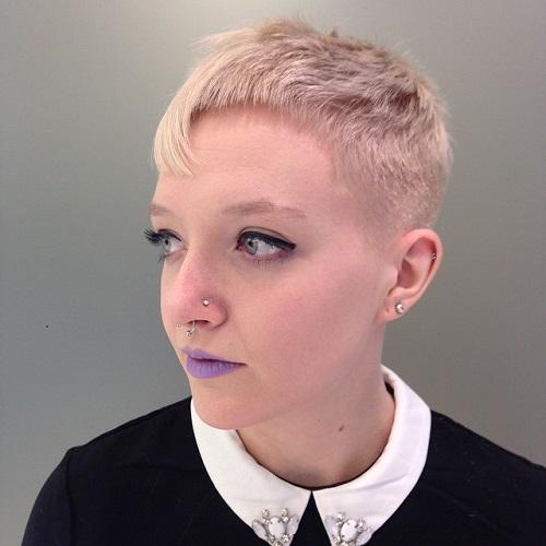 Short Blonde Asymmetrical Pixie