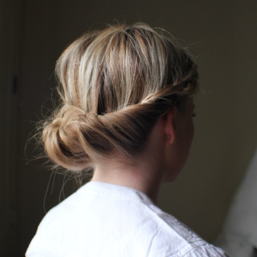 twists and bun casual updo