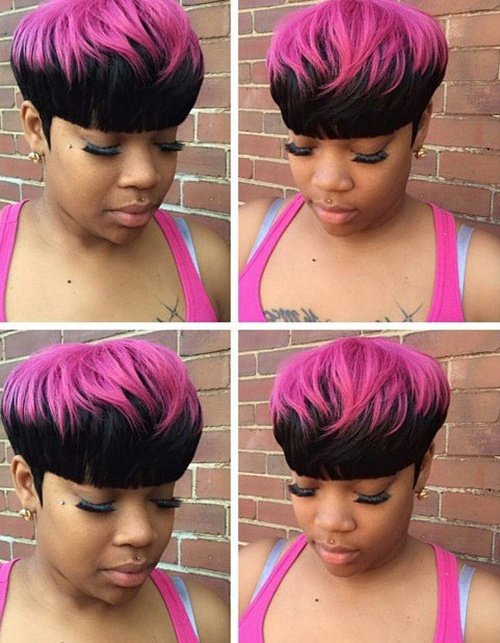 short black two-tone hair