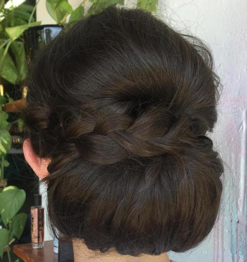 Low Rolled Chignon With A Braid