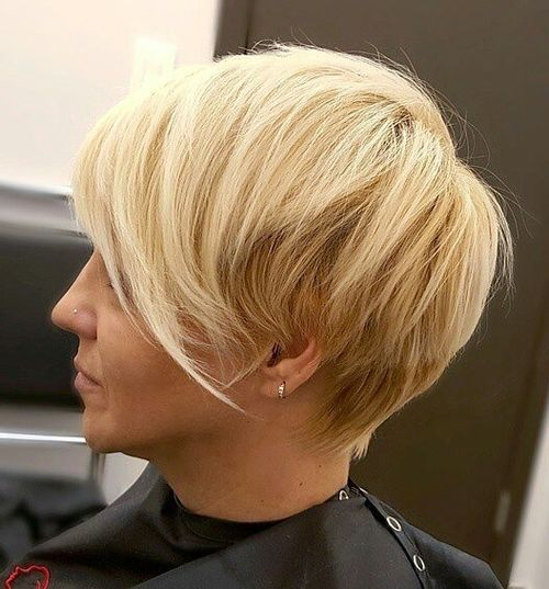blonde pixie with angled bangs