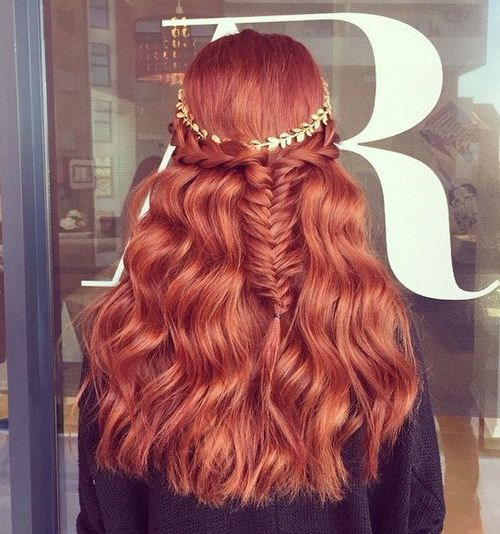 half up fishtail with a headband