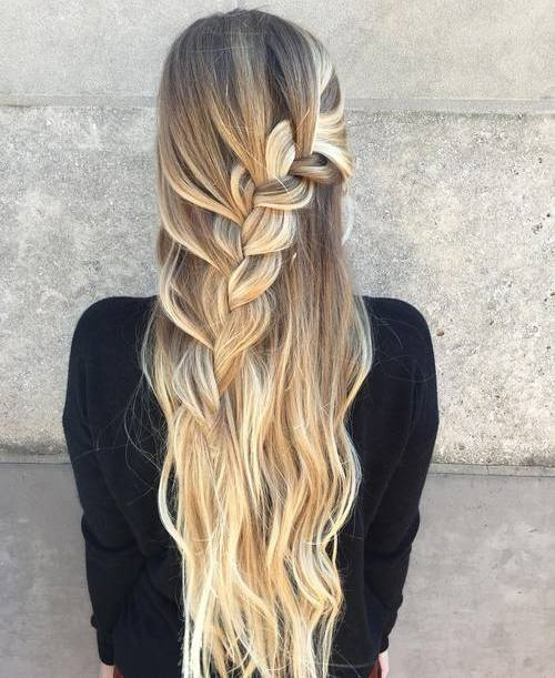 Half Updo With A Chunky Waterfall Braid