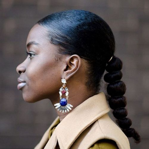 Low Bubble Ponytail For Natural Hair