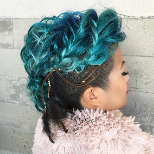 Pastel Blue Braided Undercut Hairstyle