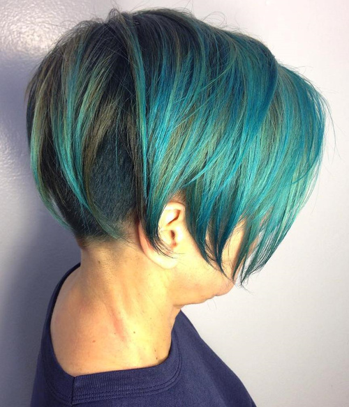 teal bob with back undercut