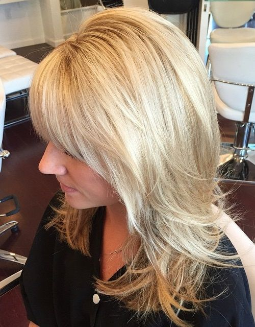layered blonde haircut for medium hair