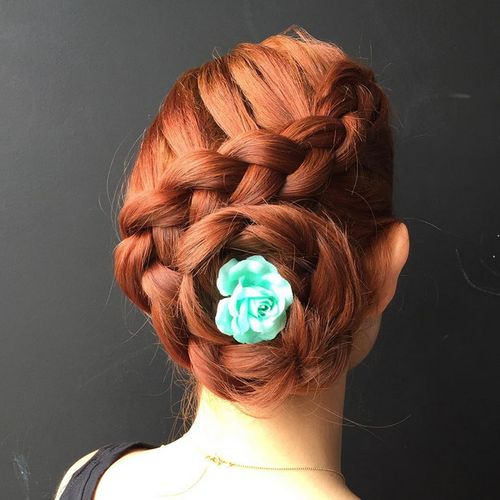 French braid bun updo
