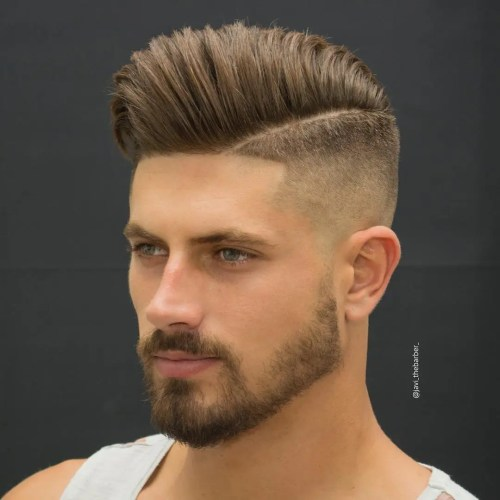 Pompadour With Side Part And Fade